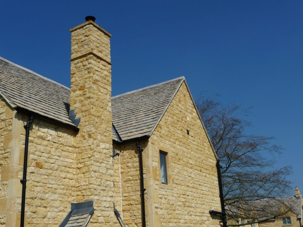 Rough Dressed Chipping Campden house with chimney