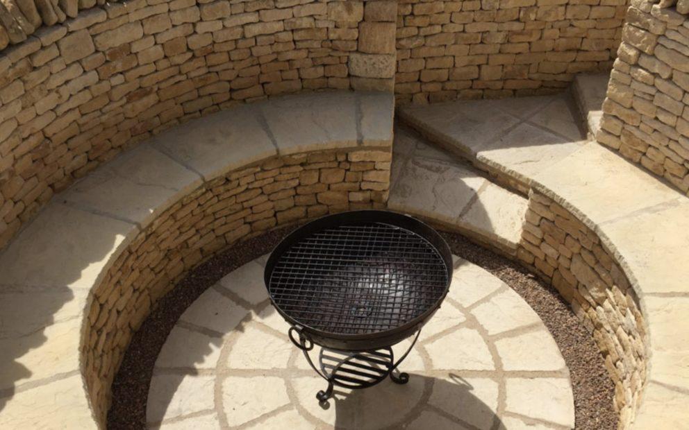 Sunken Fire Pit walling stone